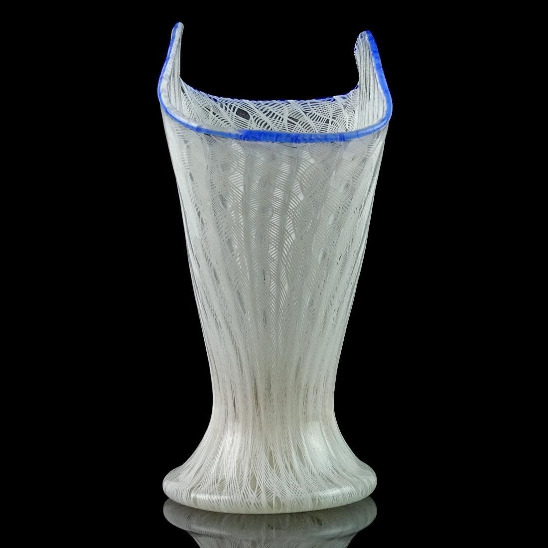 Murano White Zanfirico Ribbons Italian Art Glass Vase - 4