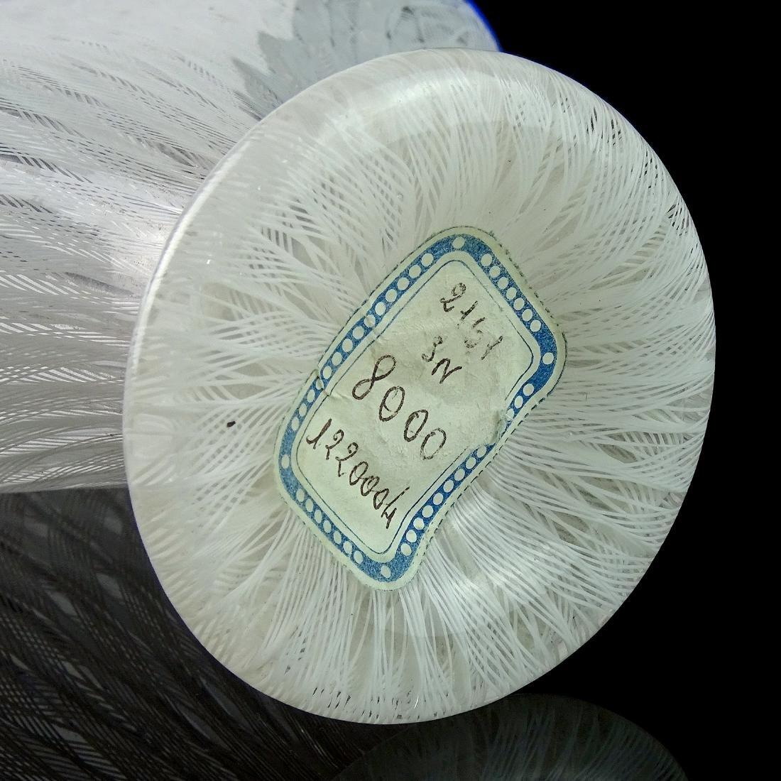 Murano White Zanfirico Ribbons Italian Art Glass Vase - 5
