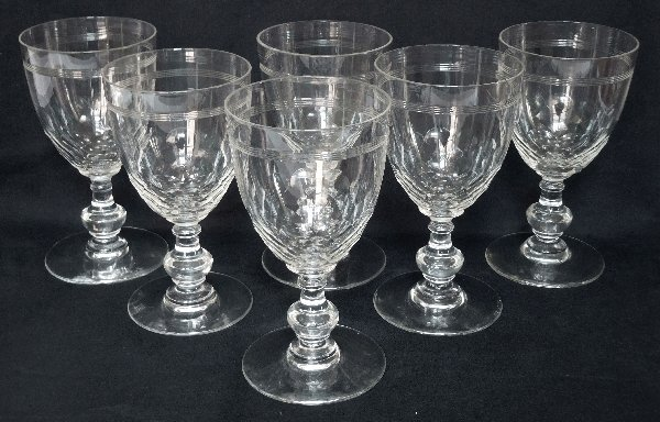 6 Wine Port Glasses Baccarat Crystal Glass Chauny