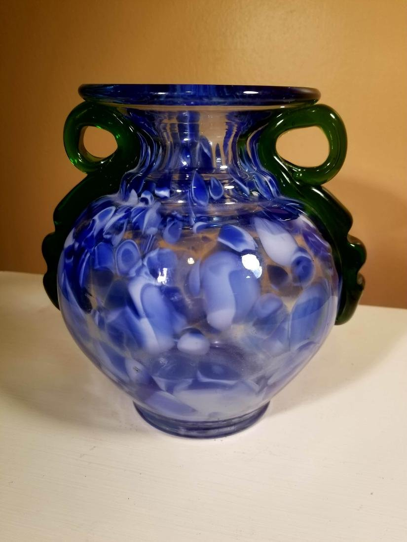 Vintage Murano Glass Vase Blue Speckled w/ Green