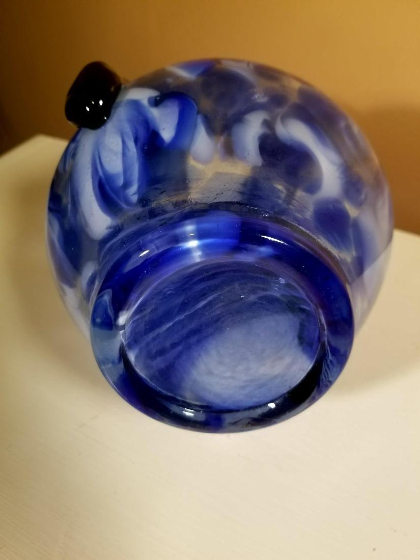 Vintage Murano Glass Vase Blue Speckled w/ Green - 3