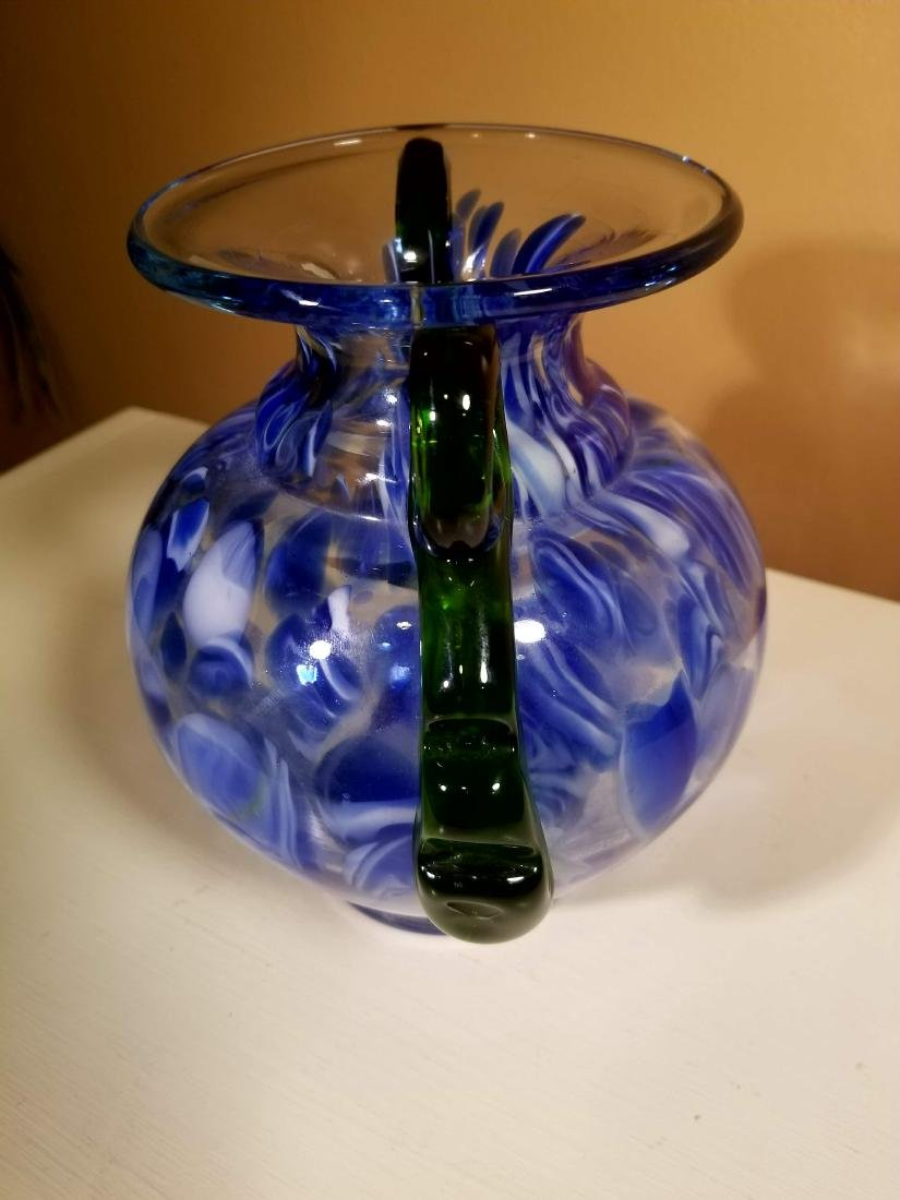 Vintage Murano Glass Vase Blue Speckled w/ Green - 4