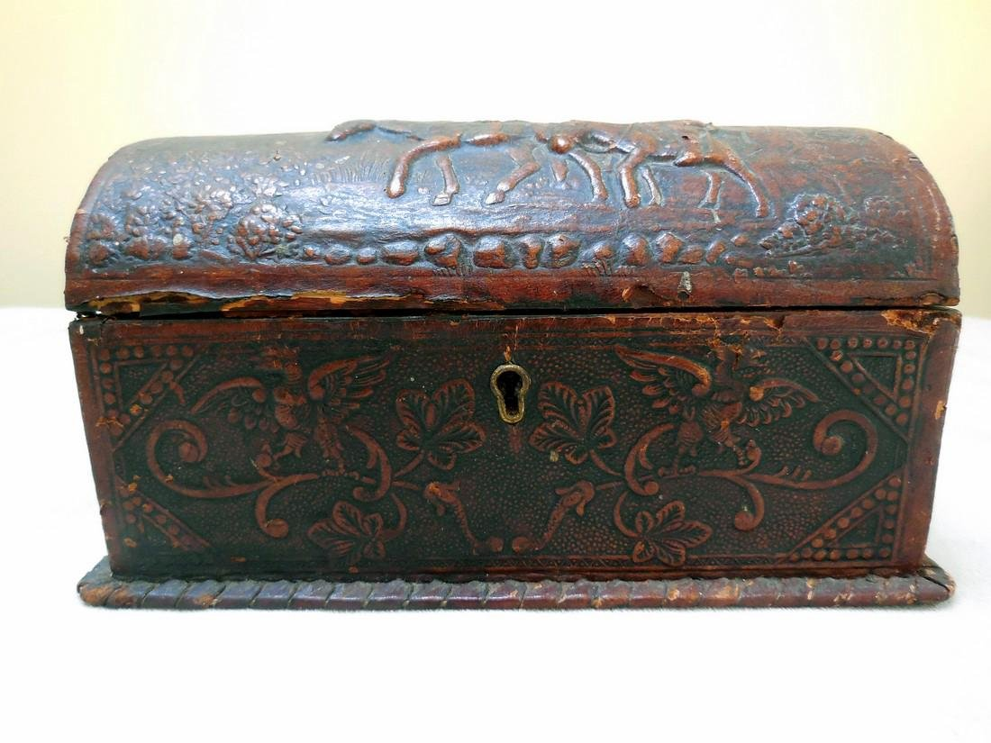 Antique Tooled Leather, Dome-Topped Document Box