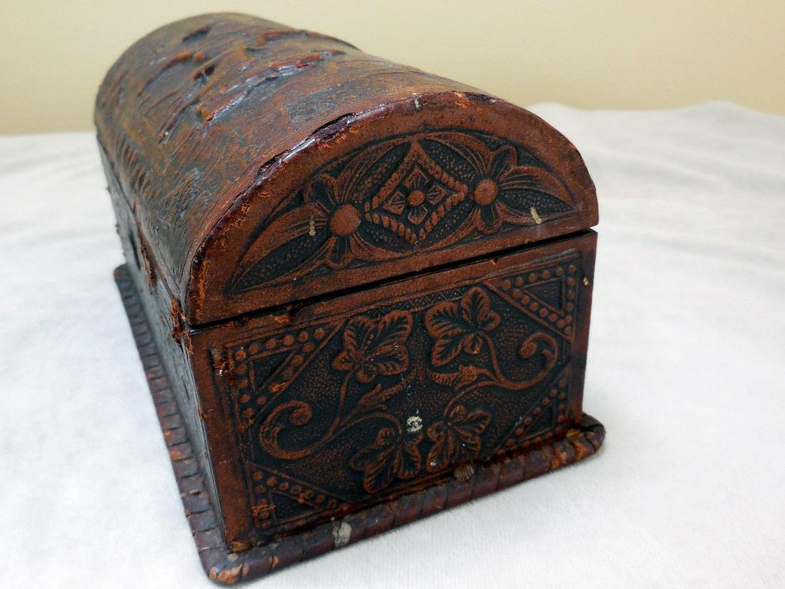 Antique Tooled Leather, Dome-Topped Document Box - 2