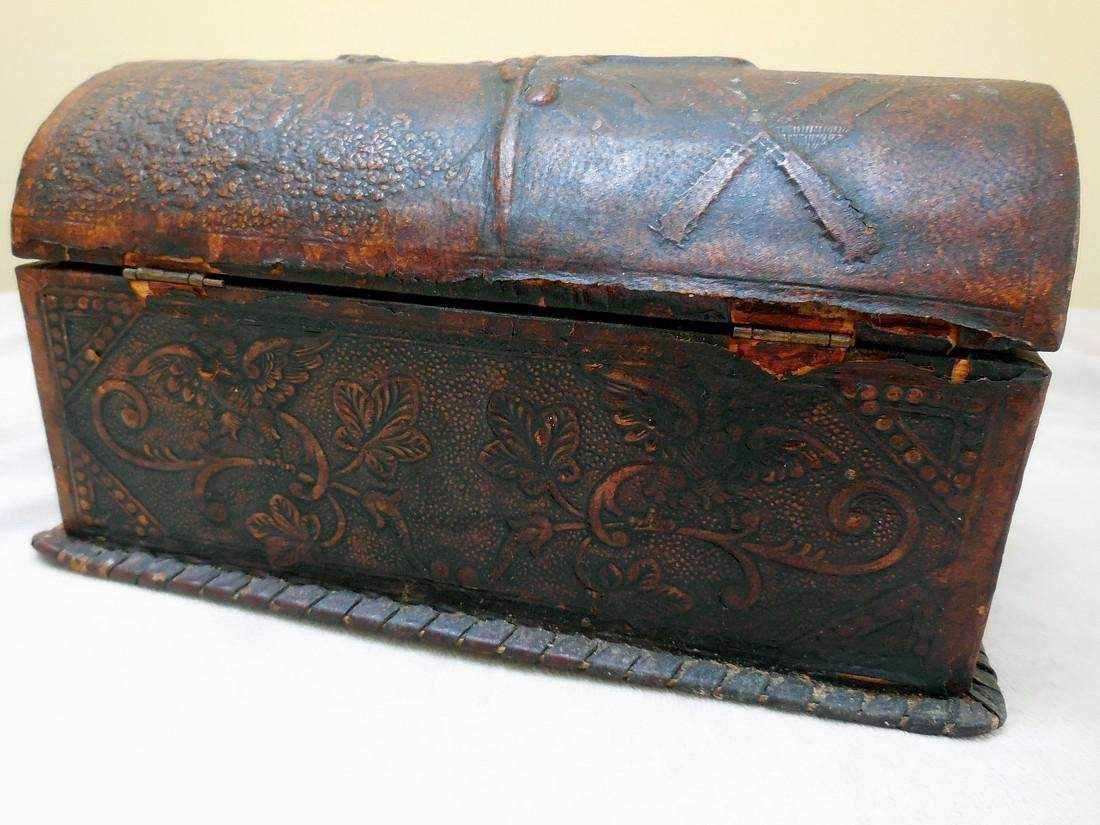 Antique Tooled Leather, Dome-Topped Document Box - 3