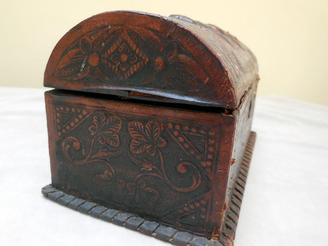 Antique Tooled Leather, Dome-Topped Document Box - 4