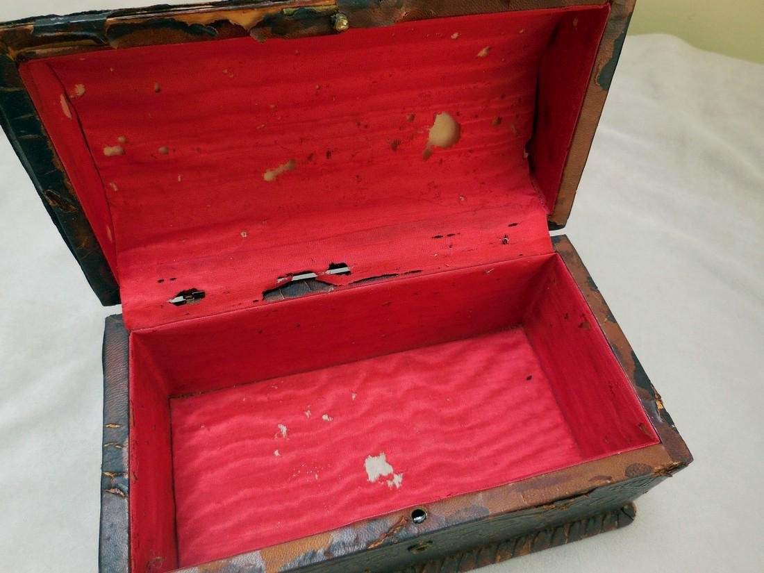 Antique Tooled Leather, Dome-Topped Document Box - 5