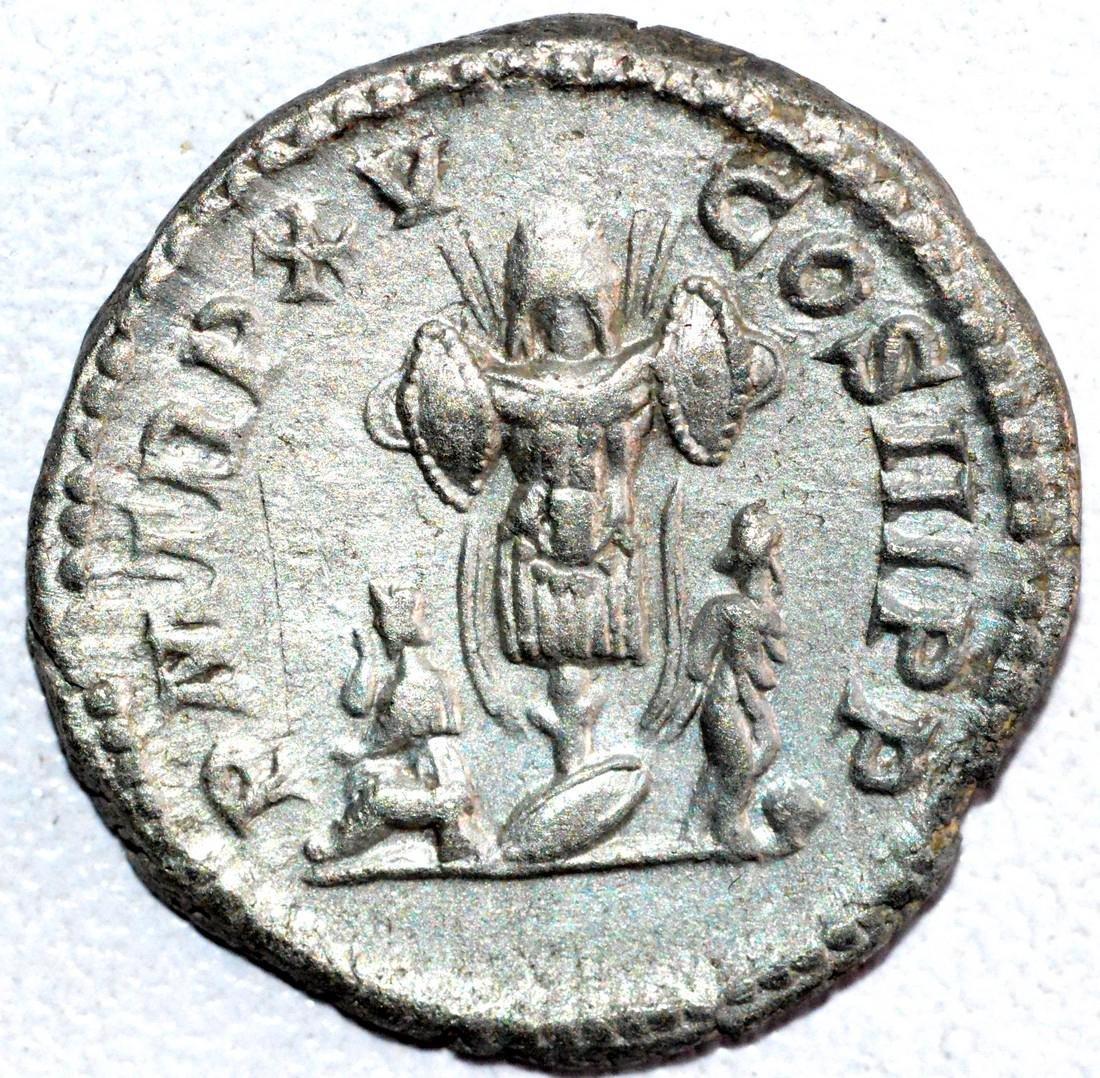 Roman Silver Denarius of Septimius Severus rv. Trophy
