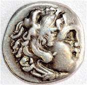Alexander III the Great Silver Drachm  rv Zeus