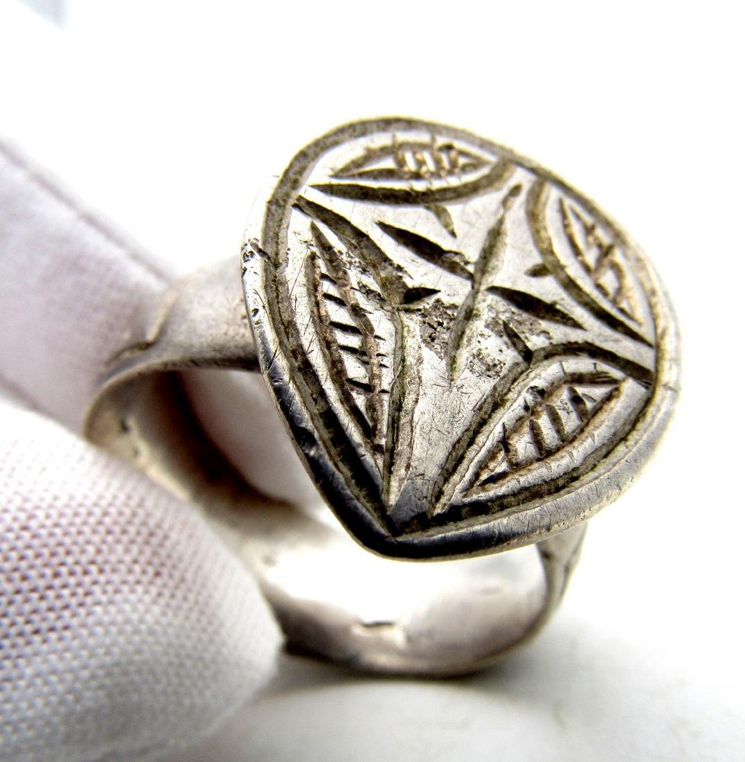 Knights Templar Silver Seal Ring with Holy Cross