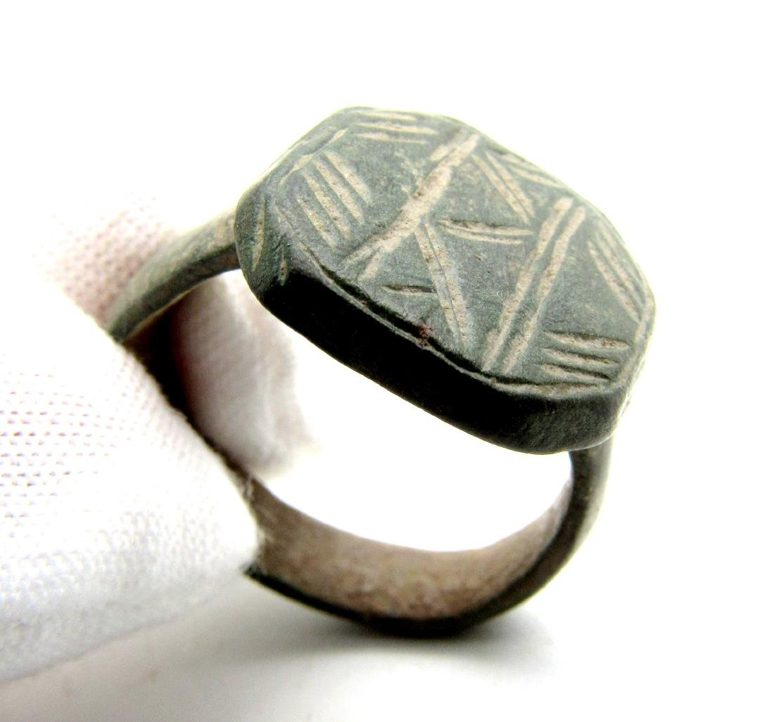 Viking Bronze Traveler's Ring Depicting Mountains