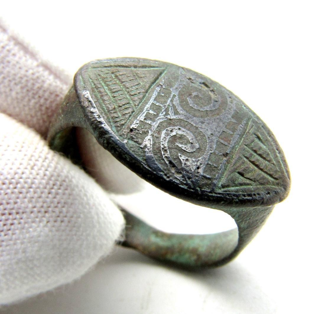Roman Priest Ring with Lituus - Niello Technique