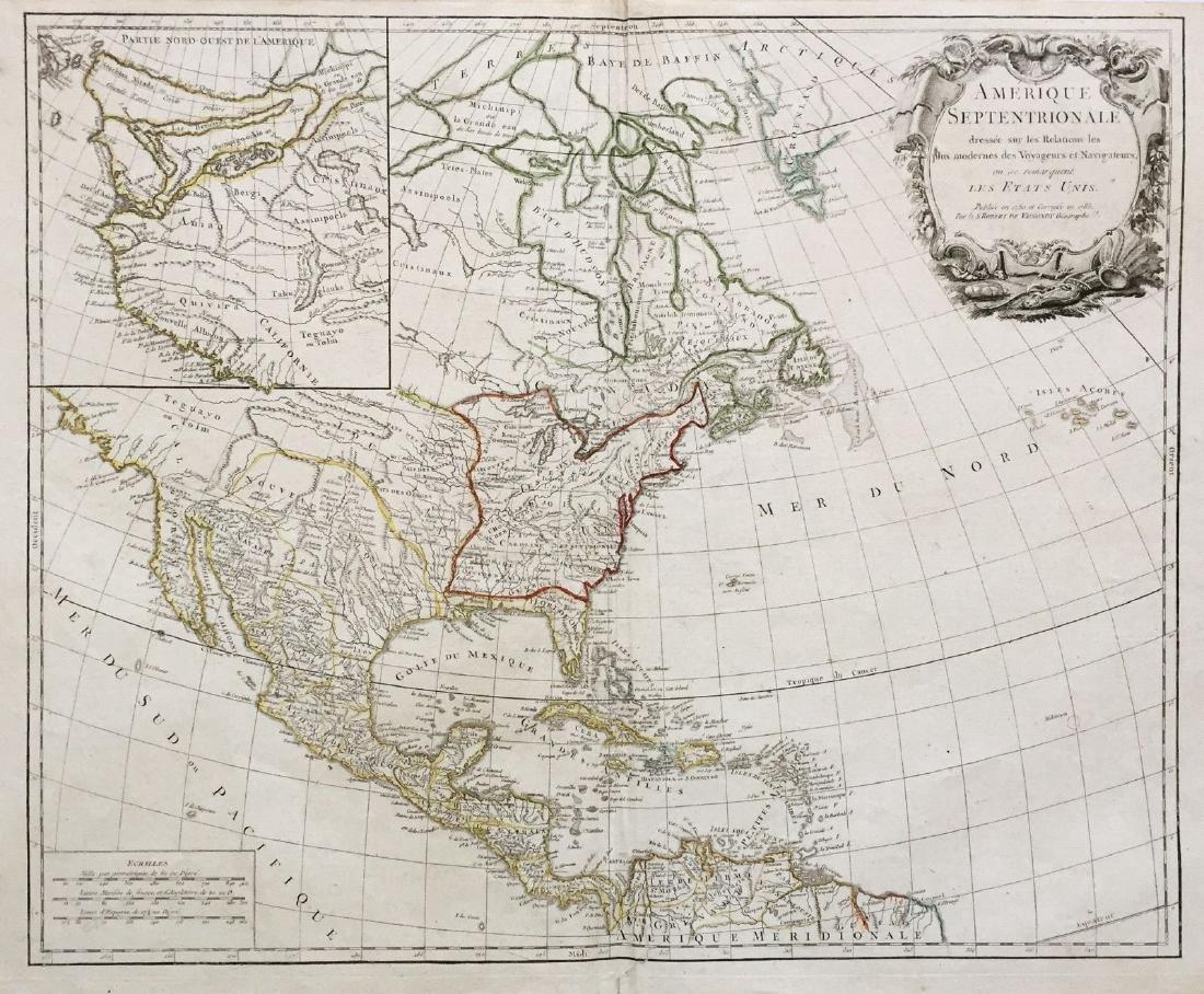 Antique Map Of North America.De Vaugondy Antique Map Of North America In 1783