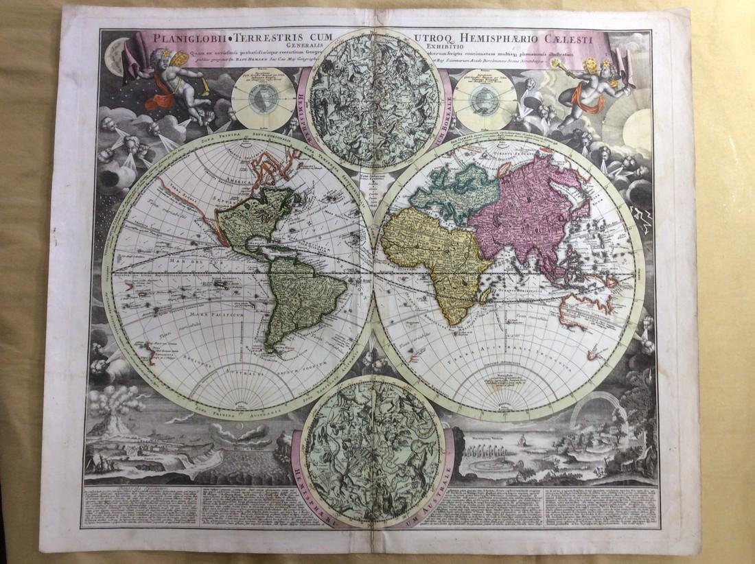 Homann: Antique Map of the World in Hemispheres, 1720
