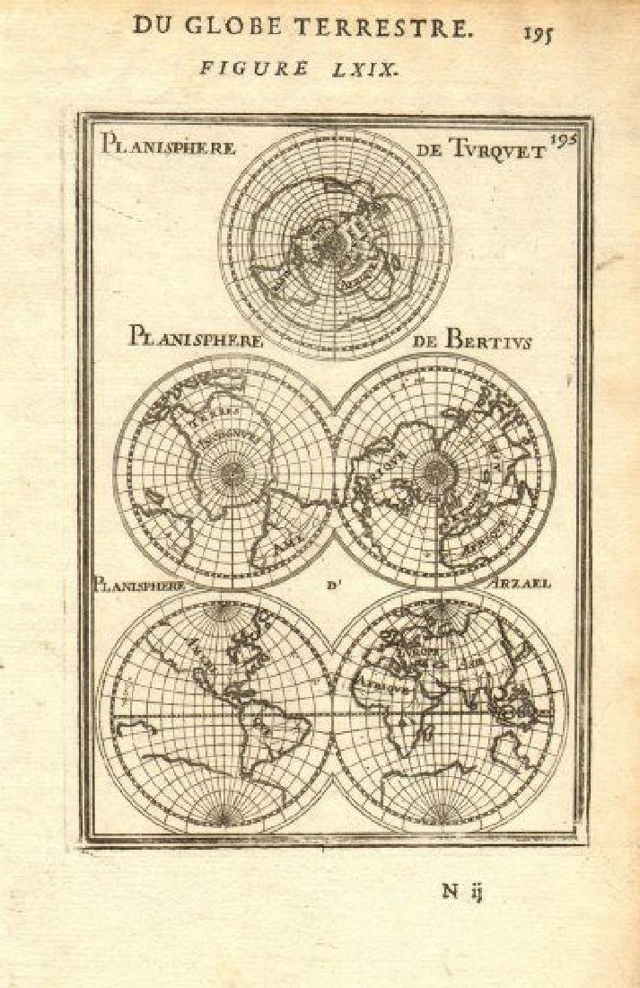Mallet: Antique Map of World Planisphere, 1683