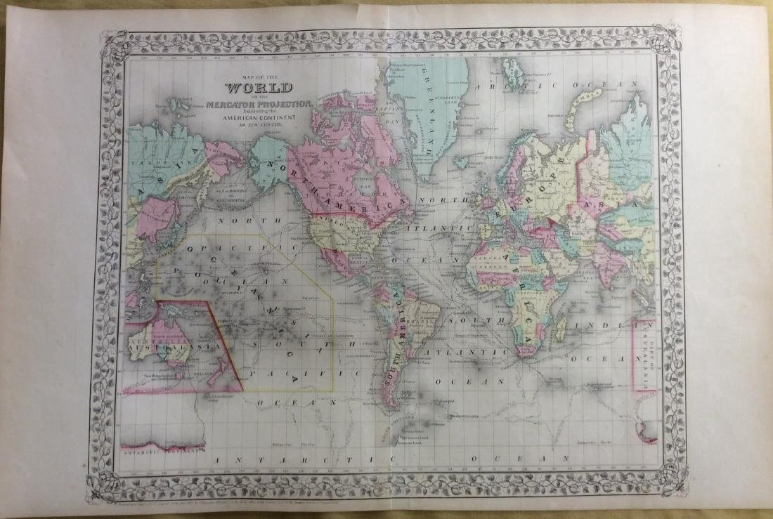 Mitchell: Antique Map of The World, 1869
