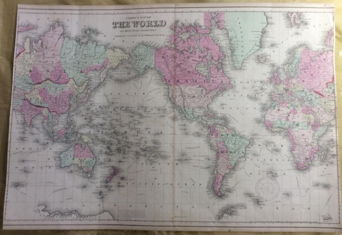 Colton: Antique Map of the World, 1861