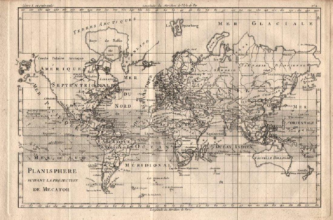 Bonne: Antique Map of World on Mercator's Projection