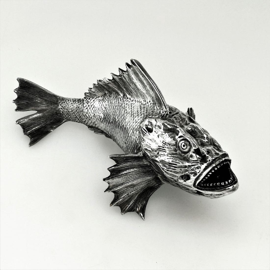 Vintage Italian 800 Silver Figural Fish Model, 20th C