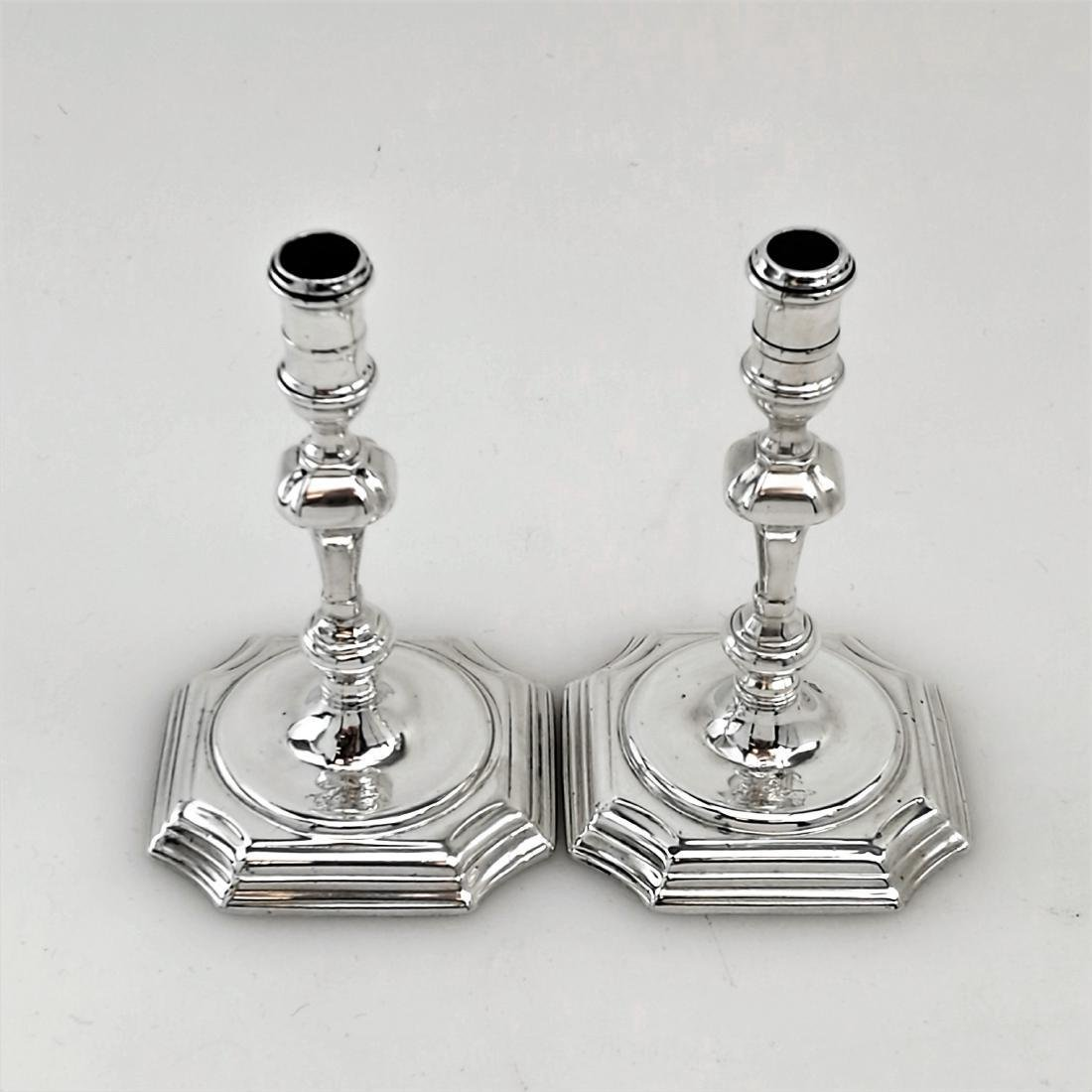 Antique Pair George II Sterling Silver Candlesticks