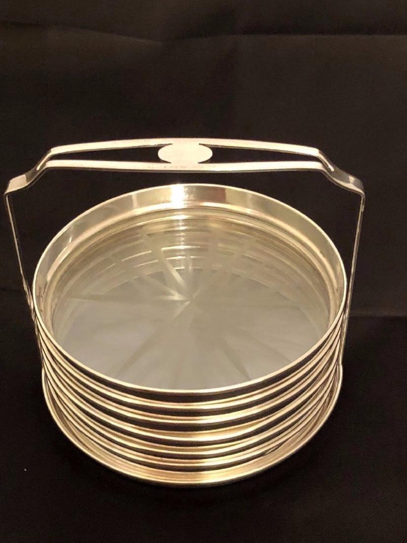 Vintage Webster Sterling Silver Cut Glass Coaster Set