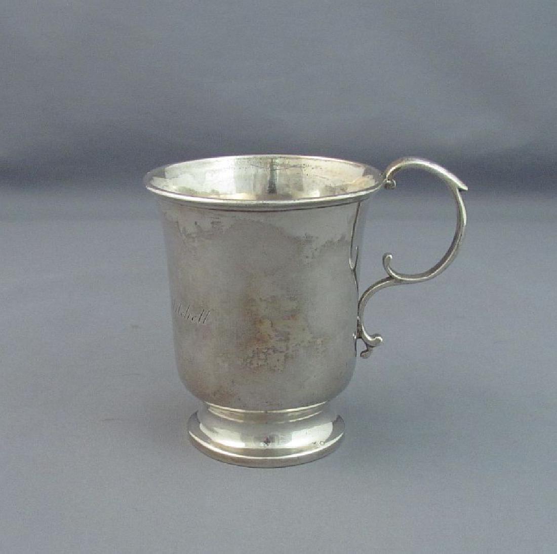 Antique American Benjamin Pitman Coin Silver Mug