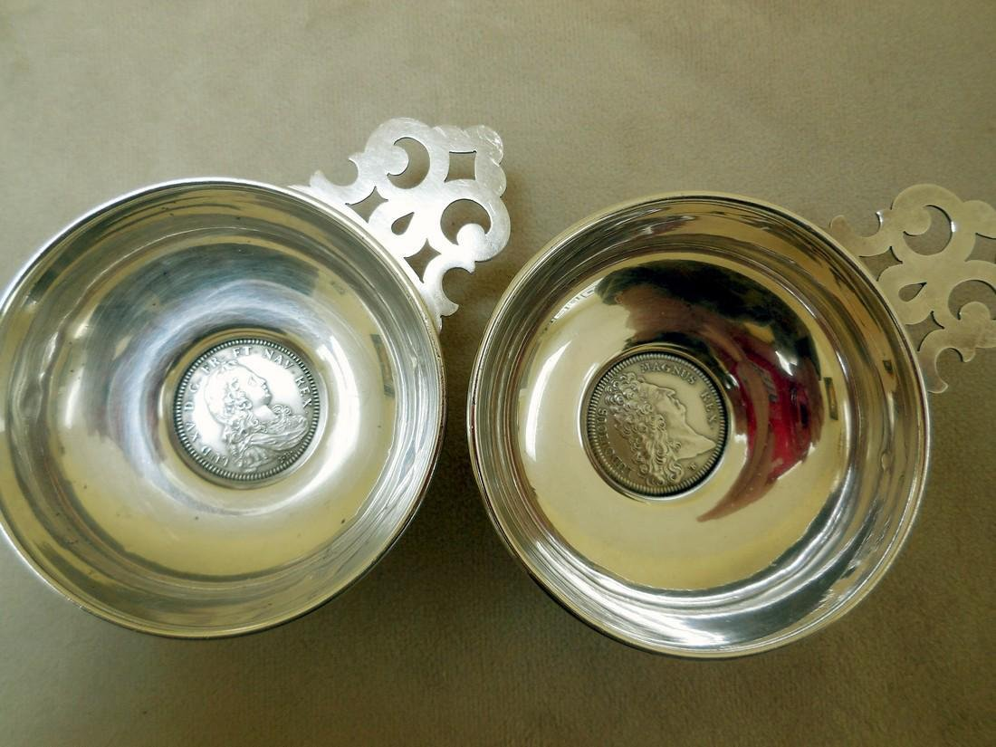 Pair Mid-Century Sterling Silver Wine Tasters, 20th C