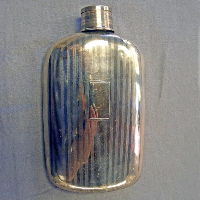 Art Deco Ross Sterling Silver Hip Flask