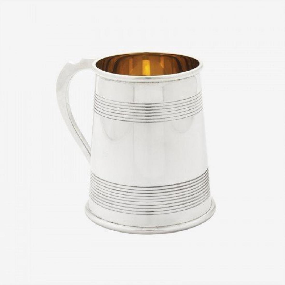 Scottish Sterling Silver 24K Gold Plate Reeded Mug