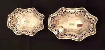 Pair of Antique Tiffany  Co Sterling Silver Nut Dishes
