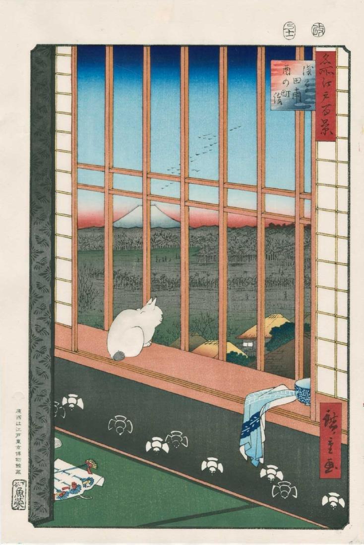 Ando Hiroshige Woodblock Cat and Mt Fuji