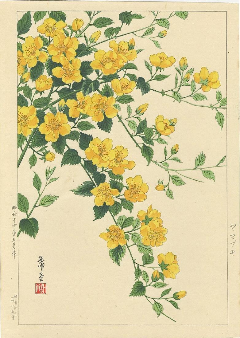 Hodo Nishimura Woodblock First Edition Yellow Azalea