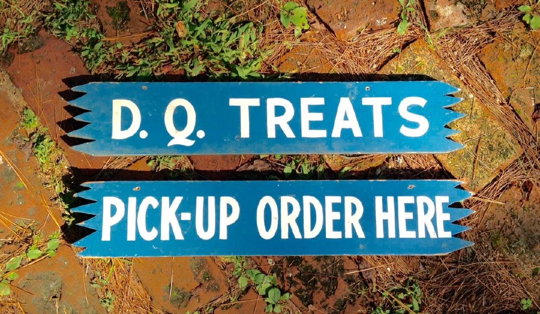 Vintage Pair of Mid 20th Century Dairy Queen Signs