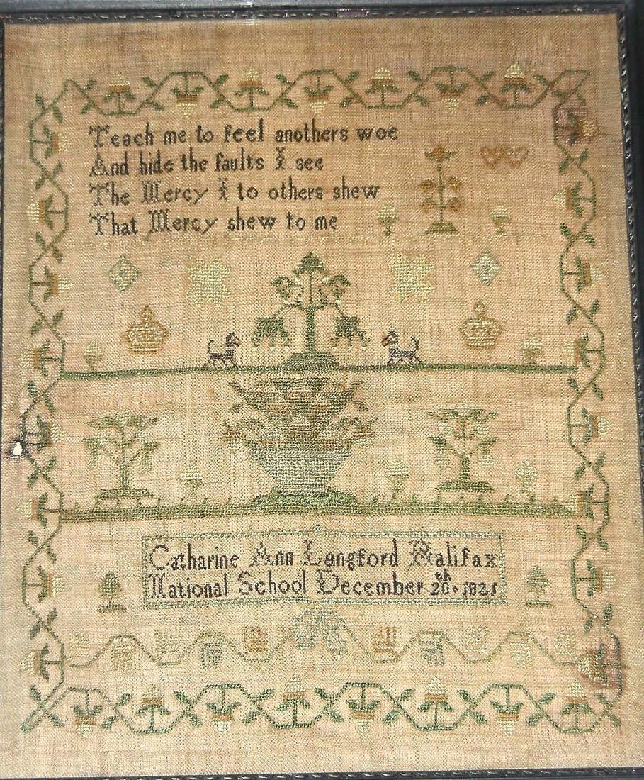 Canadian 1821 Needlework Sampler Catharine Ann Langford