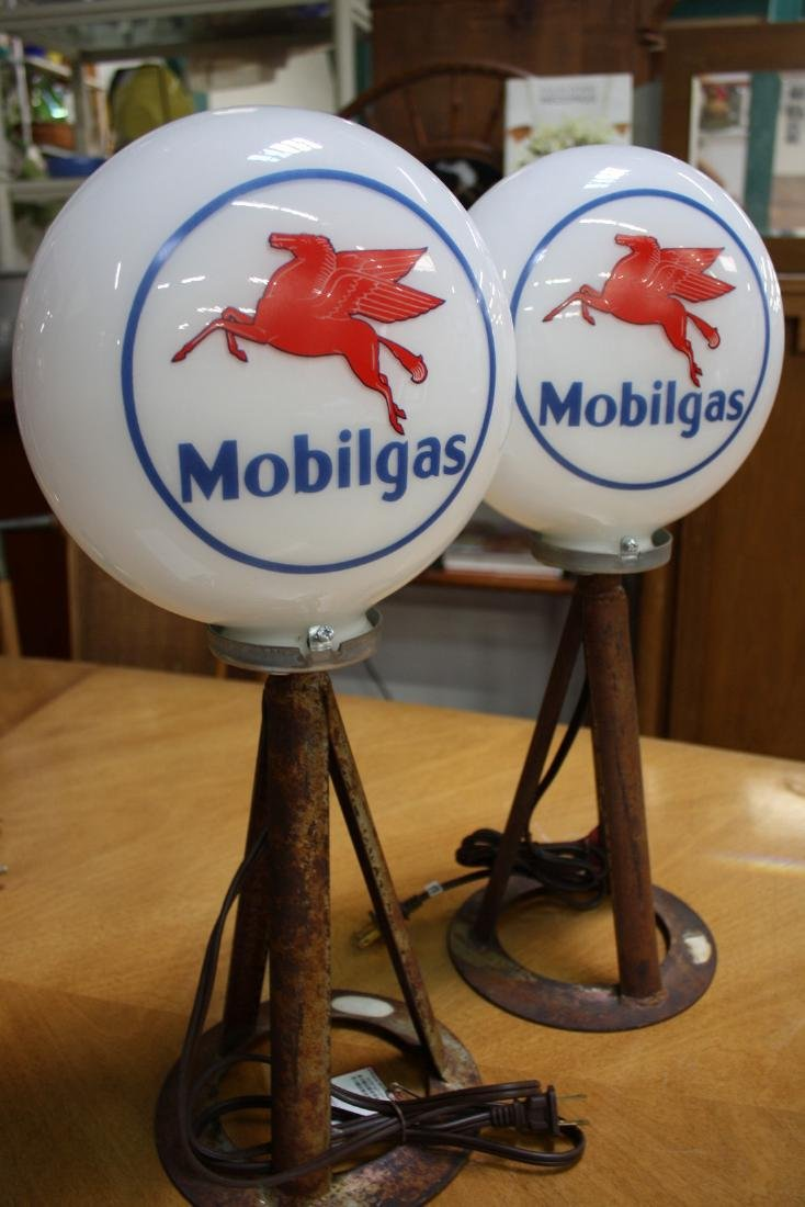 Pair of Lighted Mobil Gas Globes