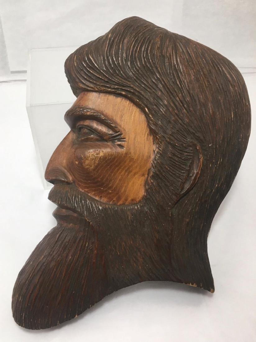 Vintage Mid Century Bearded Mans Face Wood Carving