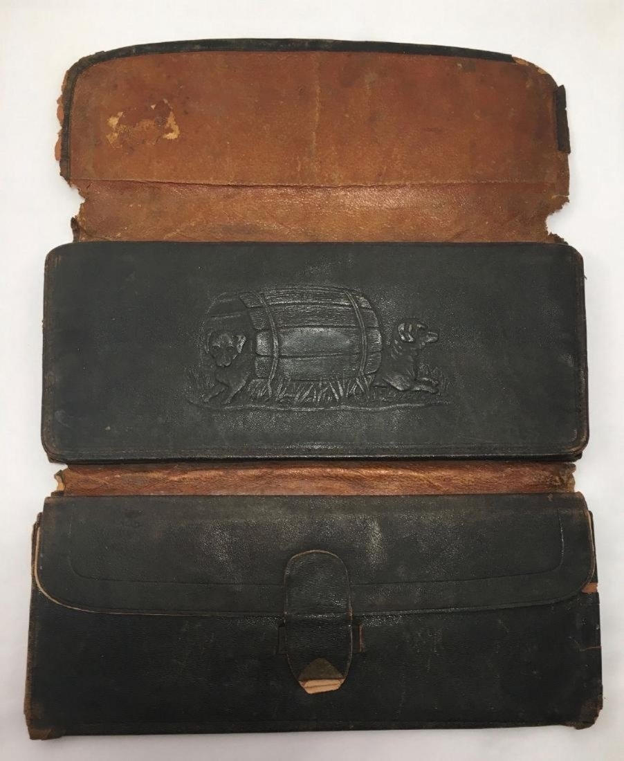 Antique 19th Century Embossed Victorian Leather Wallet