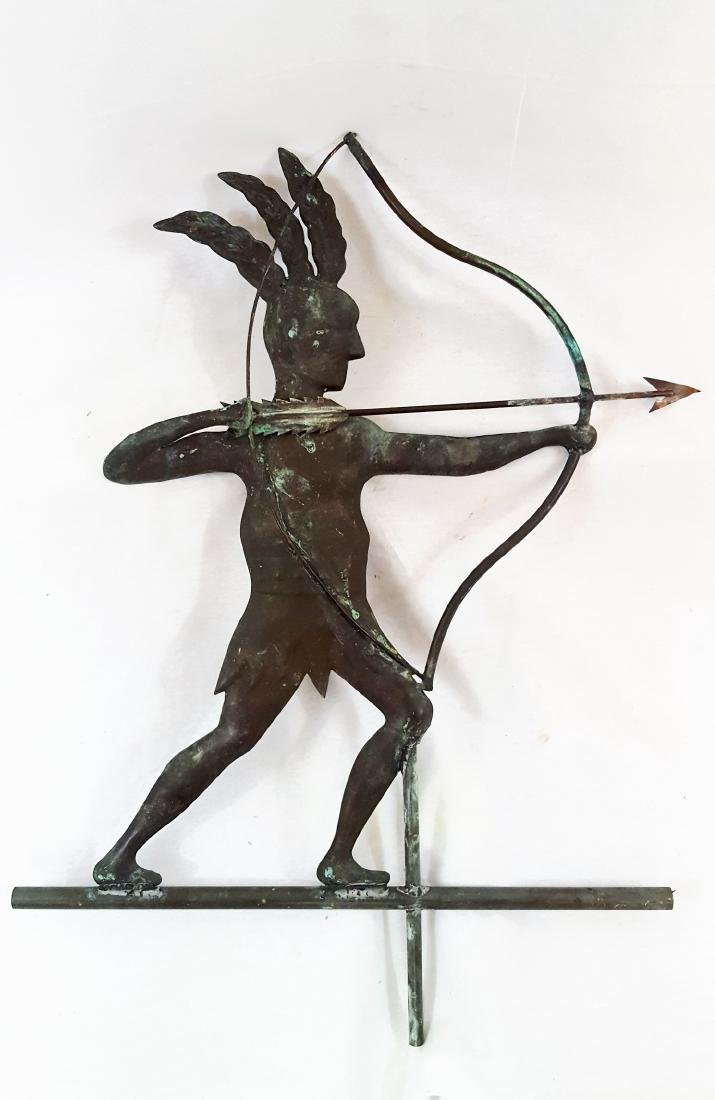 Hollow Body Copper Indian Weather Vane 1930's