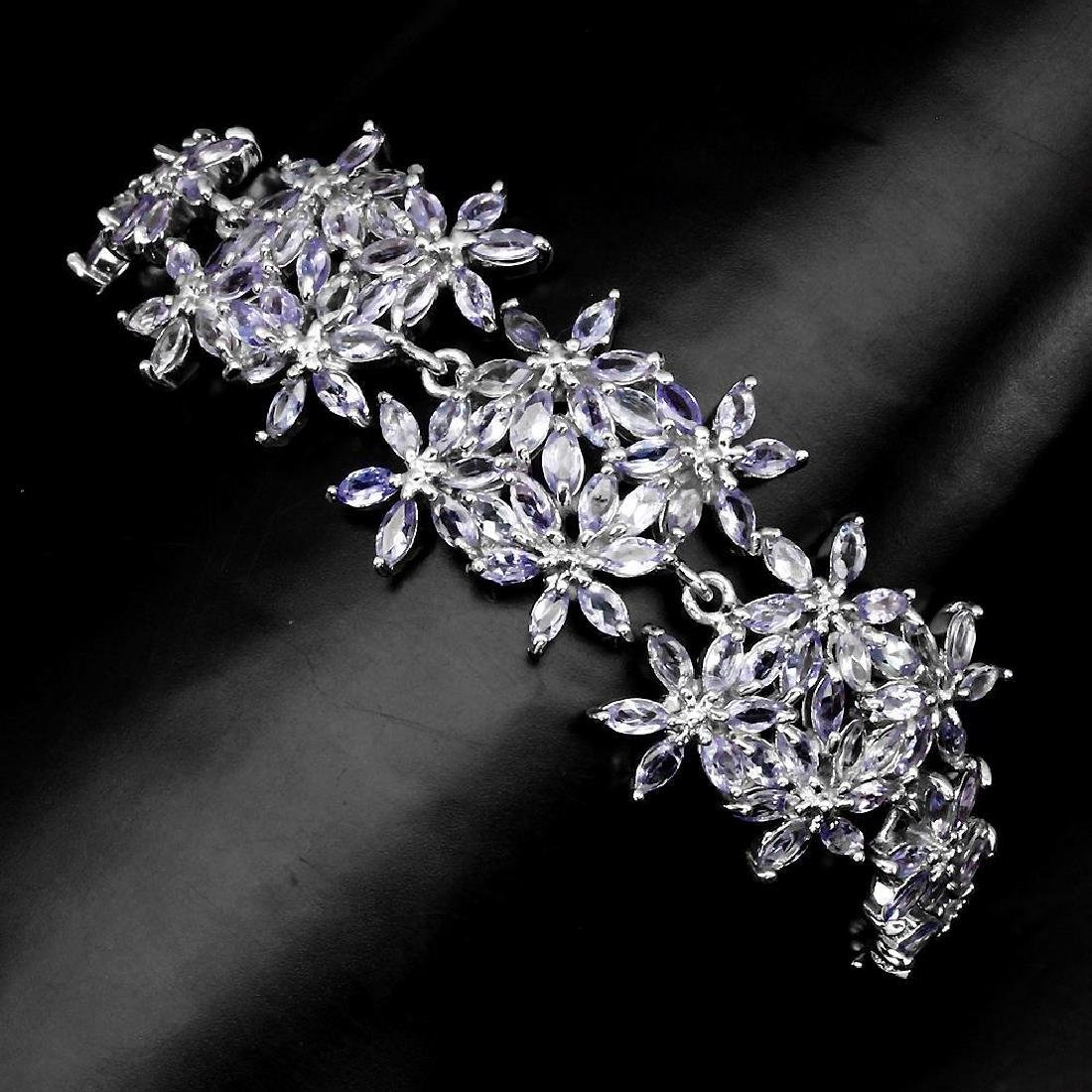 Platinum Sterling Silver Tanzanite Bracelet, 11.88ctw