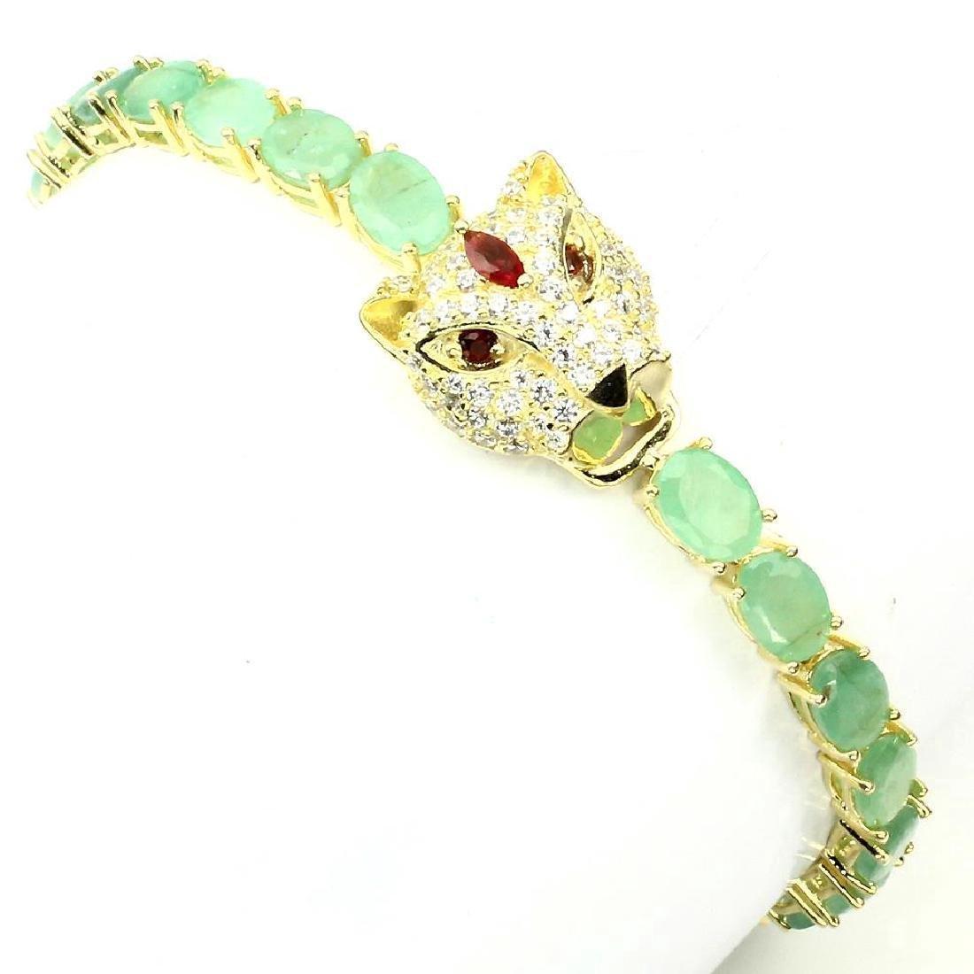 Emerald Garnet Figural Panther Bracelet 16.94ctw