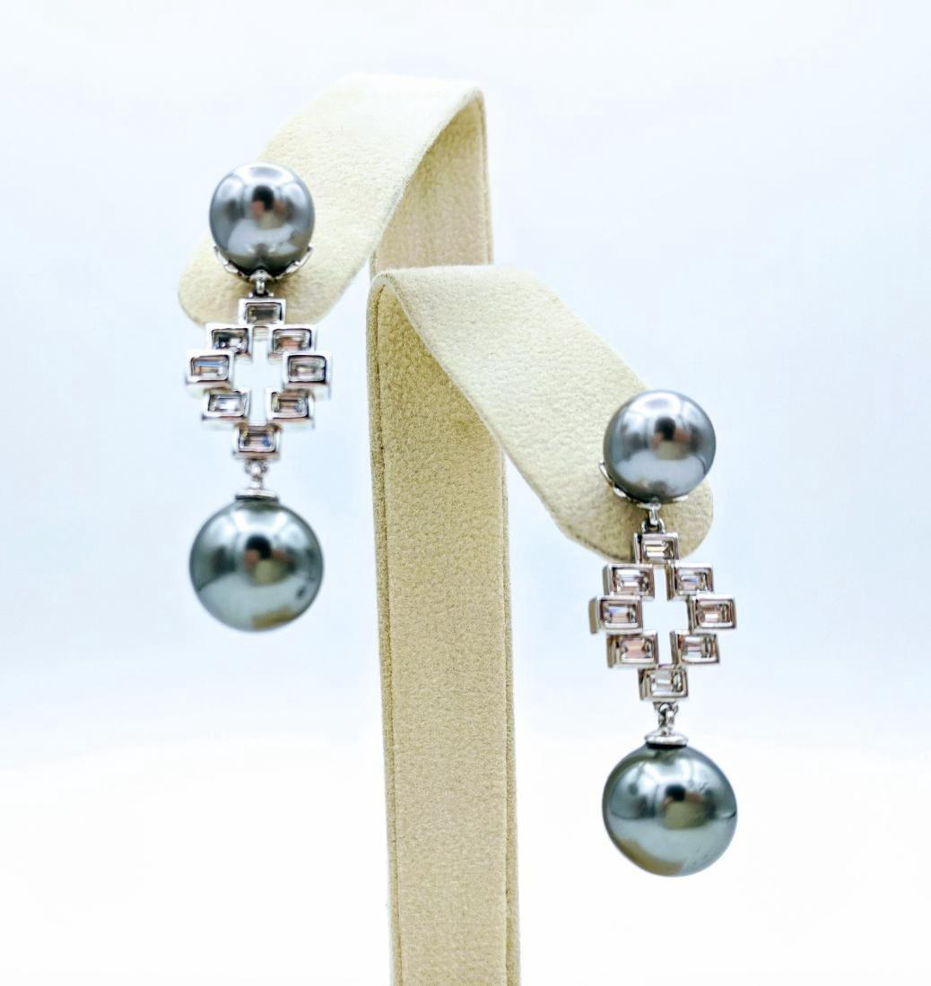 Sterling Silver Gray Pearl Cubic Zirconia Drop Earrings