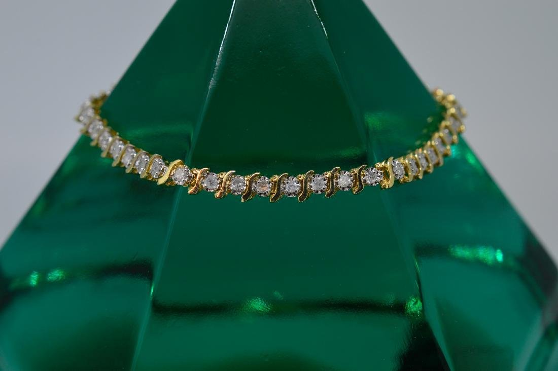 14k Yellow Gold Diamond Tennis Bracelet, .92ctw