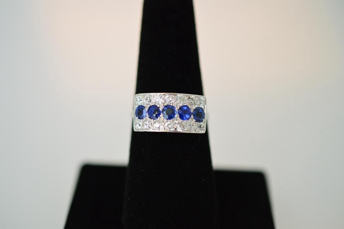 Mid-Century Platinum Sapphire Diamond Ring, .77ctw