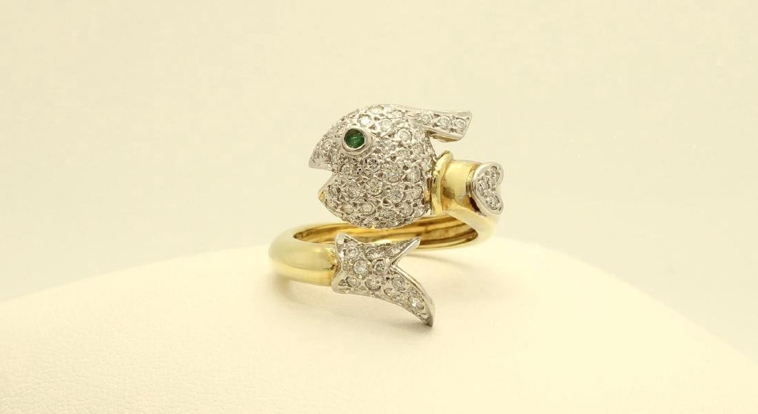 14K Gold Diamond Emerald Figural Fish Wrap Ring