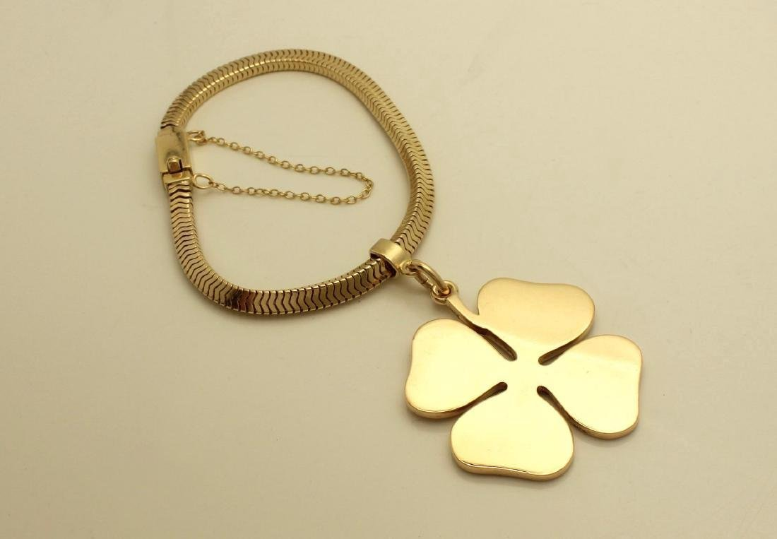 Vintage Tiffany & Co 14K Gold Four Leaf Clover Bracelet