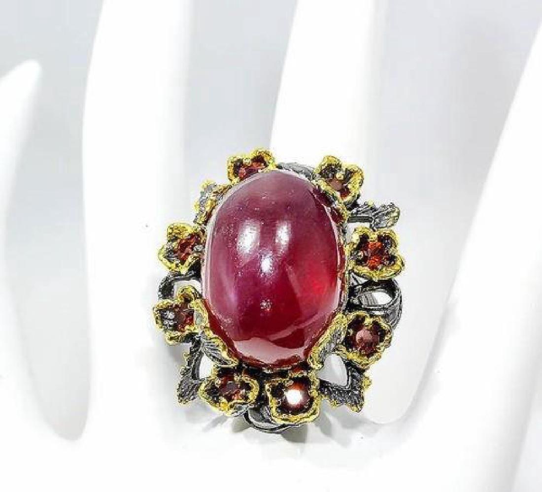 Sterling Silver AIG Ruby Garnet Ring, 58.76ctw