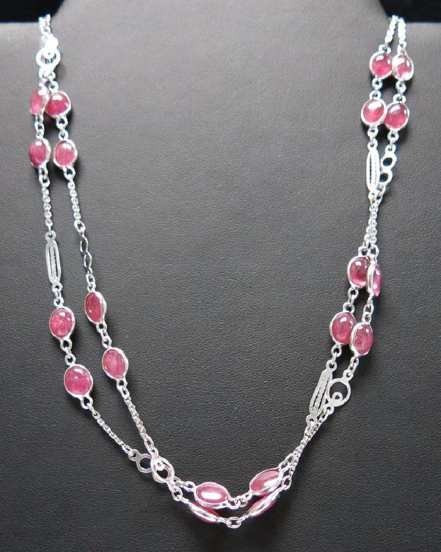 Sterling Silver AIG Ruby Necklace, 78.64ctw