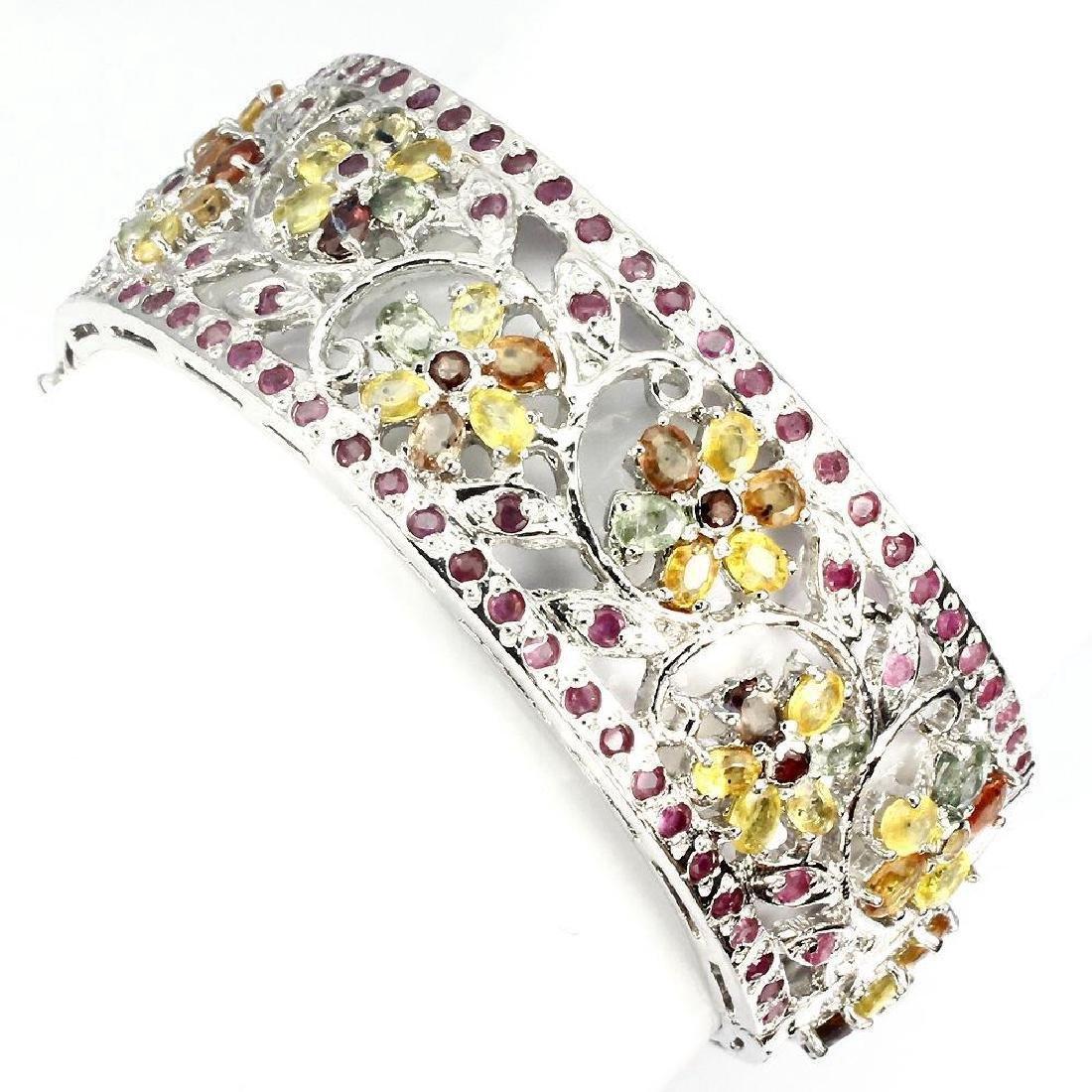 Sterling Silver Sapphire Ruby Bangle Bracelet, 22.4ctw