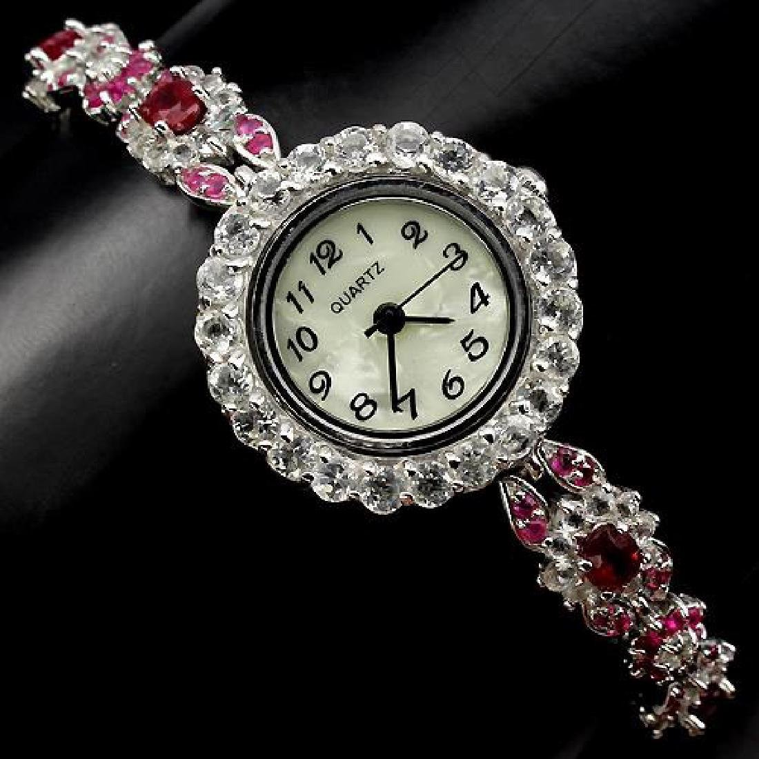 Platinum Sterling Silver White Topaz Ruby Watch, 8.1ctw