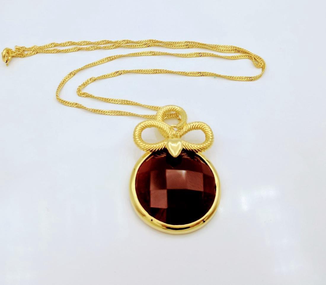 Gold Tone Sterling Carnelian Figural Snake Necklace